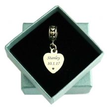 Small Memorial Heart Charm with Personalised Engraving